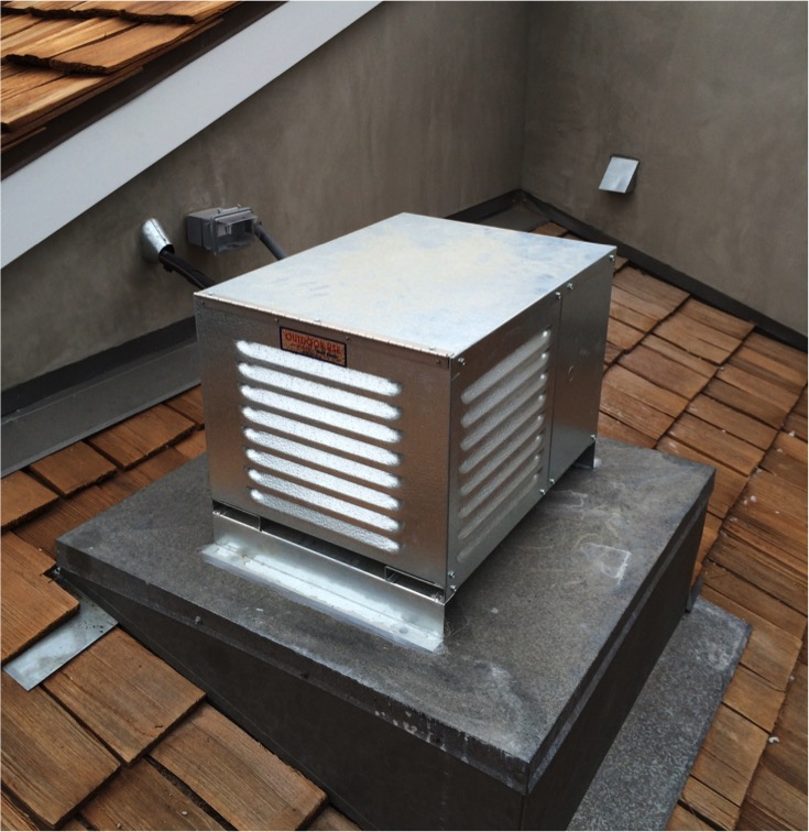 A Los Angeles home had a wine cellar installed. This is the consensing unit placed on the roof of the home.