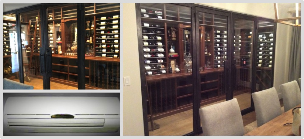 We installed the cooling unit on this amazing wine cellar in an Orange County home.