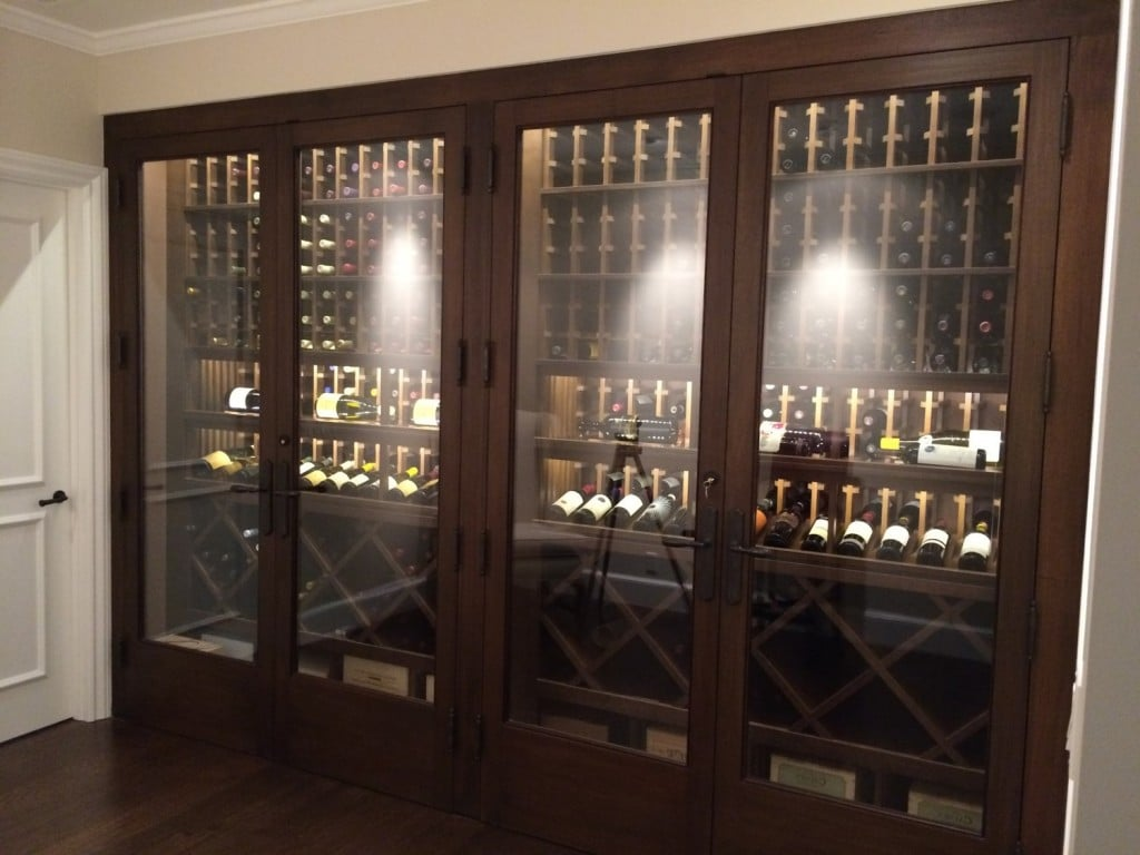 Newport Beach California Climate Controlled Custom Fitted Cabinet Wine Display & Newport Beach Wine Cellar Cooling Installation