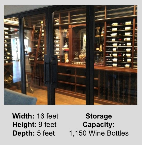 Awesome custom wine room in Orange County, California with cooling unit.