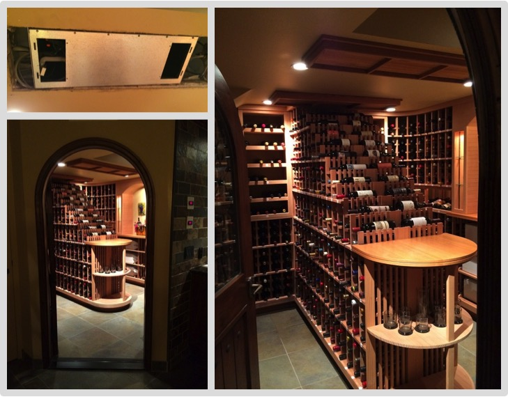 Working in the posh town of Bel Air, M&M Cellar Systems installed a split system refrigeration unit to this waterfall wine racked wine cellar.